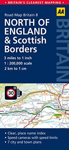 North England & Scottish Borders AA 1:200K GB#8 (Road Map Britain)