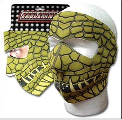 Skullskin Gator Reptile Neoprene Face Mask Green Reverse to Black (Reptile Mask)