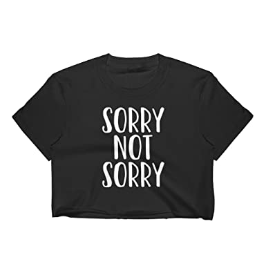 0b120a1f99e02 Get Thread Sorry Not Sorry Crop Top - Trending Novelty Quote Womens T-Shirt  at Amazon Women s Clothing store
