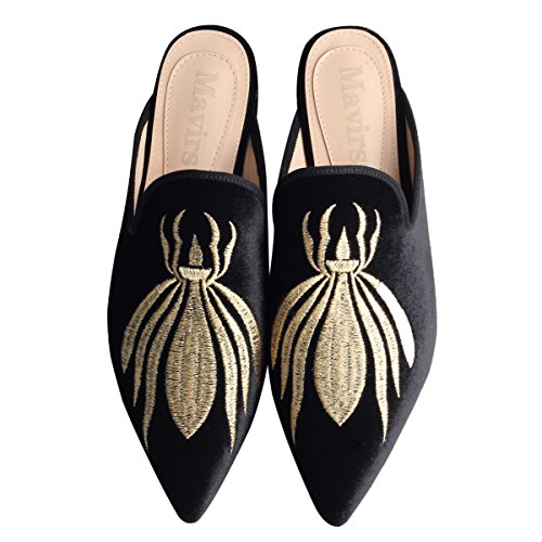 for Slippers Slip Backless Womens Spider Loafers Velvet On Embroidery Mavirs Loafers Mule Women Black Loafers 57Wn4qR
