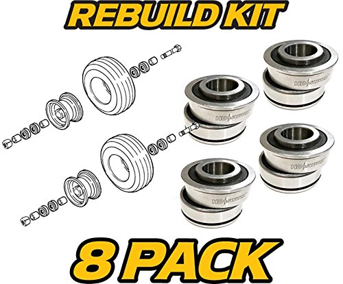 (4 Sets) Dixie Chopper 67205 & 10205 - Inner & Outer Bearings - Front Wheel Bearing Rebuild Kit - HD Switch (Chopper Mower Dixie Parts)