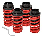 (US) Fits Eclipse Sentra Tercel Corolla Adjustable Suspension Lowering Spring Coilover Coil Over Aluminum Scaled Sleeves 4 Piece Sport Street Track Racing Drifting Kit Set Red Black