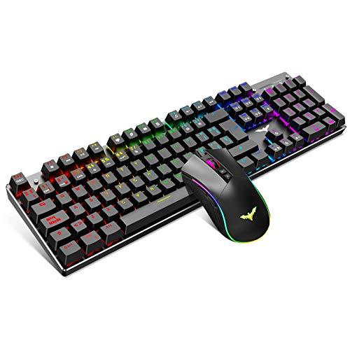 havit Teclado mecanico Gaming y raton Espanol Teclados Gaming con Cable, Azul Anti-Efecto Fantasma de 105 Teclas, Raton Gaming programable, Negro