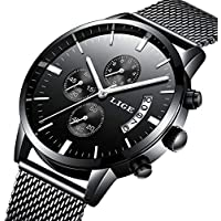 Watch Men Casual Stylish Stainless Steel Watch with Milanese Mesh Band, Waterproof Black Multifunctional Watch for Men …