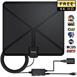 TV Antenna, 2019 Newest HDTV Indoor Digital Amplified Antennas 117 Miles Range with Switch Amplifier Signal Booster for Free Local Channels 4K HD 1080P VHF UHF All TV's - 16.5ft Coaxial Cable