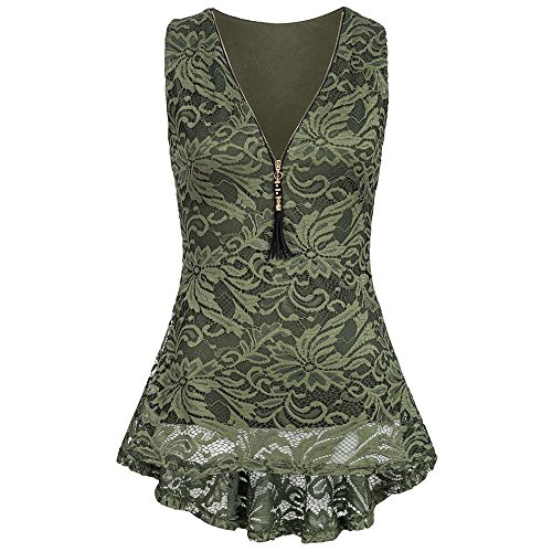(HGWXX7 Women's Solid V-Neck Lace Sleeveless Irregular Hem Zip Up Vest Tank Tops (XXL, Green))