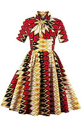 Foshow Womens Halloween Costumes Plus Size Vintage African Print Dress Dashiki Midi Dresses