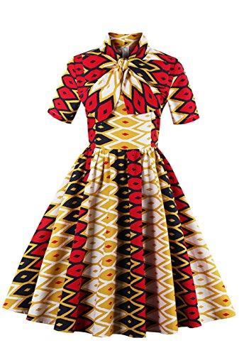233e6308e7d Amazon com Foshow Womens African Print Vintage Dress Plus Size