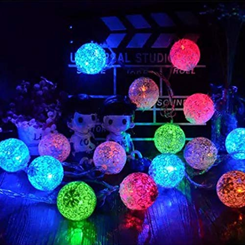 H+K+L 1.5M 10 LED Bud Silk Ball Shape String Battery Operated Lights Party Wedding Christmas Decor (Multicolor) ()