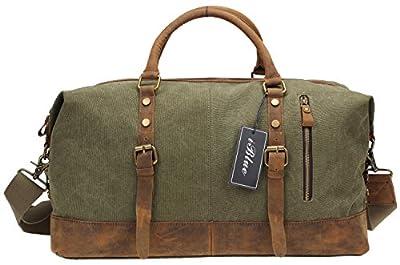 Iblue Upgraded Canvas Leather Weekender Sports Duffels Overnight Shoulder Bag #012031