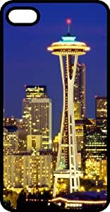 Famous Space Needle In Seattle Washington Black Plastic Case for Apple iPhone 5 or iPhone 5s