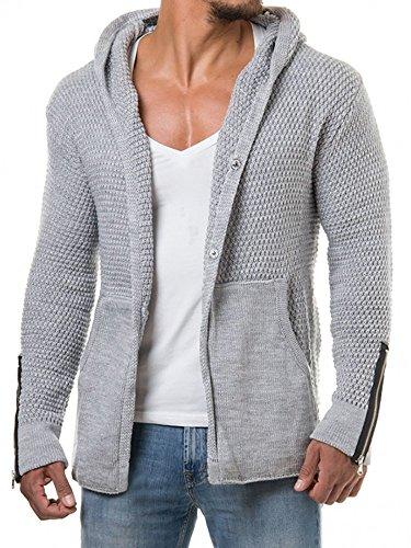 EastLife Mens Cardigans Knitted Hoodie Jacket Long Sleeve Casual Sweater Side Pockets