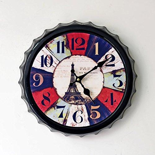 Aiar Creative iron beer Cap wall clock Eiffel Tower wall clock wall clock with painted home decor