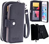 iPhone 6 Plus Wallet Case, Hynice iPhone 6 Plus Wallet Purse Case Leather Zipper Case with credit card slots and Magnetic Detachable Slim Cover for iPhone 6 Plus 5.5