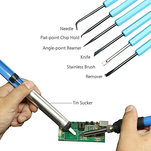 17 in 1 soldering gun ezykoo 60w 110v adjustable temperature sautering iron kits with working. Black Bedroom Furniture Sets. Home Design Ideas
