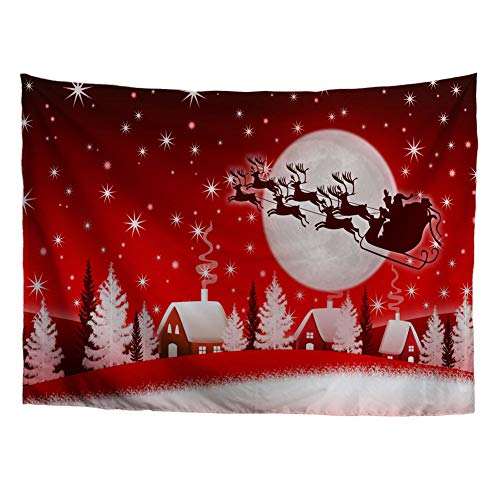 Wall Santa Claus (HUGS IDEA Tapestry Christmas Wall Hanging Santa Claus Delivering Gifts with Reindeer Handicraft Red Wall Tapestry for Living Room Dorm Bedroom)