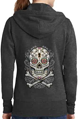 Interstate Apparel Mens Irish to The Bone Skull Black Fleece Zipper Hoodie Black
