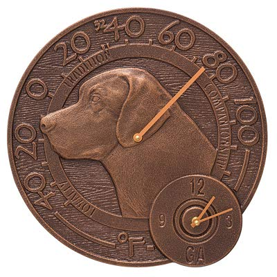 Whitehall Products Labrador Thermometer Clock, Antique Copper