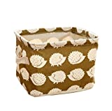 Yonger Square Storage Box Rectangular Folding Canvas Fabric Storage Box Organiser Storage Basket with 2 Hands on Both Sides Mini Square Storage Bins for Clothes, Kids Toy, Books and More