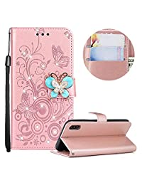 MOIKY Soft Silicone Case for iPhone X/iPhone XS,Luxury 3D Diamond Butterfly Buckle PU Leather Magnetic Flip Stand Function Case for iPhone X/iPhone XS 5.8 inch with Card Holder Pockets-Rose Gold