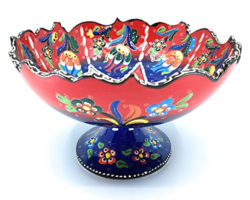 Dish Arabesque Candy - Handmade Turkish Traditional Ceramic Pottery Footed Candy Dish or Server (Red to Blue)