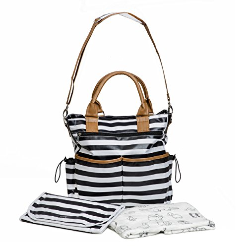 Diaper Bag Designer Tote with Swaddling Muslin Cotton Blanket Changing Pad Included By Jornix