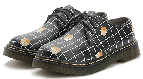 Low IDIFU Black Shoes Fashion Printed Heels Up Top Lace Oxfords Low Women's Brogues Work qT6HP