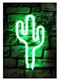 Cactus 3D Neon Night Lights Wall Light,USB Cable / Batteries Powered for Nursery, Bedroom , YiiY Decorations for Kids' Room,Living Room, (Cactus-Green)