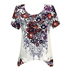 aa161058c6926 TWGONE Floral Tops for Women Short Sleeve Plus Size Casual T-Shirt Bouse