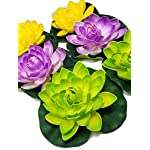 Floral-Kingdom-8-Inch-Floating-Lotus-Lily-pad-Foam-Flower-for-Ponds-Weddings-Pool-and-Garden-Decor-Set-of-6-Green-Violet-Yellow