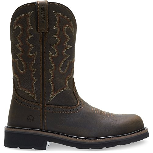 (Wolverine Men's Rancher Round Steel-Toe Western Construction Boot, Dark Brown, 9.5 M)