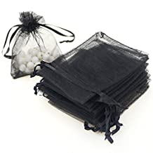 """Dealglad 100pcs Drawstring Organza Jewelry Candy Pouch Party Wedding Favor Gift Bags (5x7"""", Black)"""