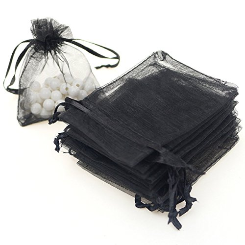 Dealglad 100pcs Drawstring Organza Jewelry Candy Pouch Party Wedding Favor Gift Bags (3.5x4.5