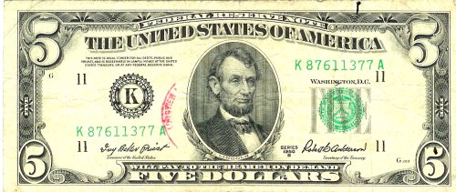 1950-B Series $5 Federal Reserve Note