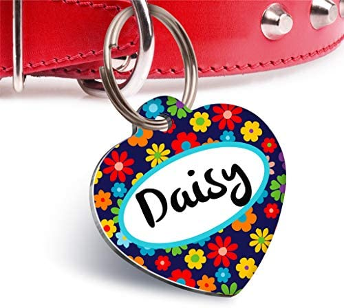 Pet Tag Art Heart Shaped Personalised Both Side Cat-Dog Tags Pet Tag ID – 01