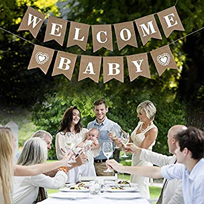 LOLOAJOY Welcome Baby Banner Vintage Burlap Banner Linen Flags Decorative for Baby Shower Boy Girl Party Decoration: Toys & Games