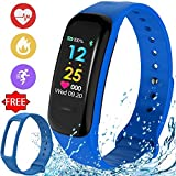 Fitness Tracker Heart Rate Blood Pressure Oxygen Sleep Monitor IP67 Waterproof GPS Activity Tracker for Women Men Kid Pedometer for Android iOS Sport Smart Watch with Free Replacement Band (blue)