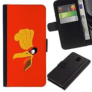 LECELL--Cuero de la tarjeta la carpeta del tirón Smartphone Slots Protección Holder For Samsung Galaxy Note 3 III -- Cartoon Angry Bird --