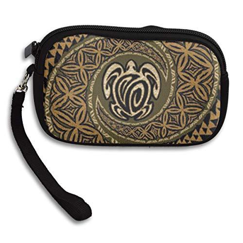 Coin Purse Hawaiian Tapa Honu Turtle Pattern Zipper Wallet Mini Wristlet Cash Phone Holder Change Pouch