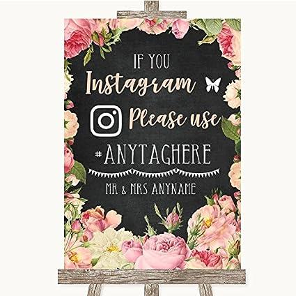 Pizarra estilo rosa rosas Collection pizarra estilo rosa rosas Instagram Hashtag boda señal: Amazon.es: Oficina y papelería