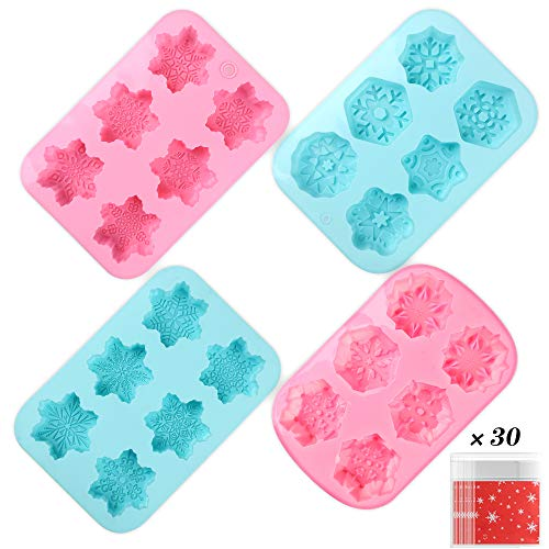 YGEOMER 4 6-Cavity Christmas Silicone Snowflake Soap Molds, 22 Patterns for Making Fondants, Cakes, Handmade Soaps
