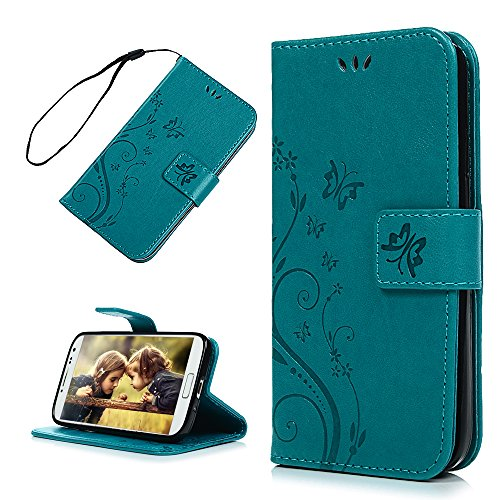 S4 Case, Galaxy S4 Case - Mavis's Diary Embossed Wallet Flip Folio Case Fashion Floral Butterfly Premium PU Leather Cover & Hand Strap, Magnetic Clasp, Card Holders for Samsung Galaxy S4 9500 - Blue