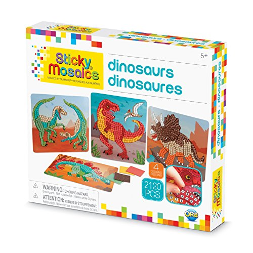 The Orb Factory Sticky Mosaics Dinosaurs Arts & Crafts, Green/Brown/Orange/Blue, 12