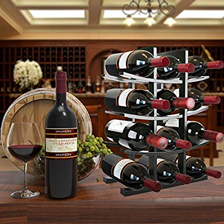 Gimars Estante para Botellas de Vino de Madera Natural, Estante para Vino de Mesa, Soporte para Botellas de Vino, champán espumoso, Negro, 12 Botellas