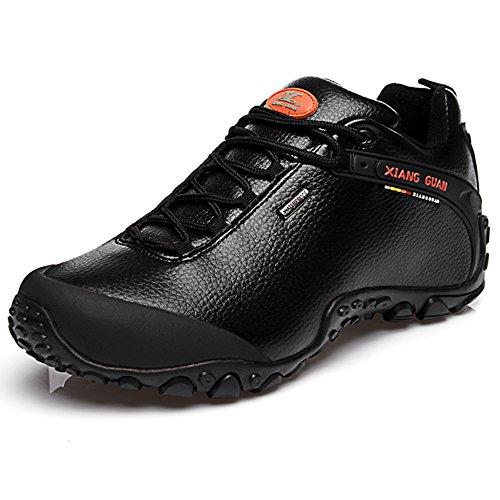 XIANG GUAN Zapatos de Deporte y Aire Libre, Zapatillas de Cuero para Senderismo para Hombre 81996 Negro