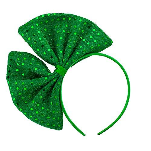 Lux Accessories Green Saint Patrick Day Glittery Huge Ribbon Fashion Headband