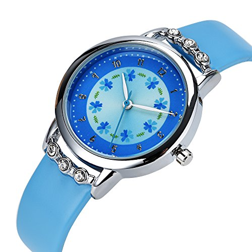 DOVODA Girl Watches Easy Reader Time Teacher Leather Band Kids Watch