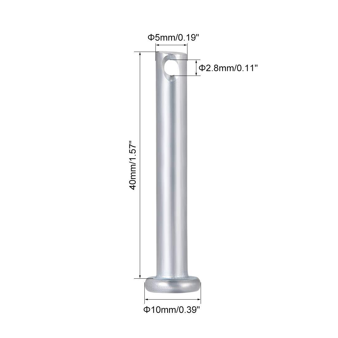 Sourcingmap 10 unidades, un solo agujero Clavijas de acero galvanizado