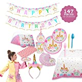 FIG PARTY SUPPLIES AB-135 Unicorn Themed Serves 16, 146 Piece - Bonus Happy Birthday Banner and Table Cloth - Party Plates, Cups and Napkins