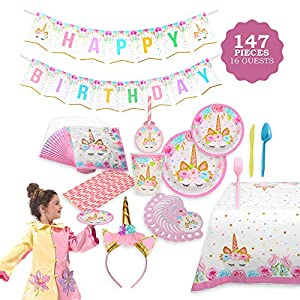 FIG PARTY SUPPLIES AB-135 Unicorn Themed Serves 16, 146 Piece – Bonus Happy Birthday Banner and Table Cloth – Party Plates, Cups and Napkins